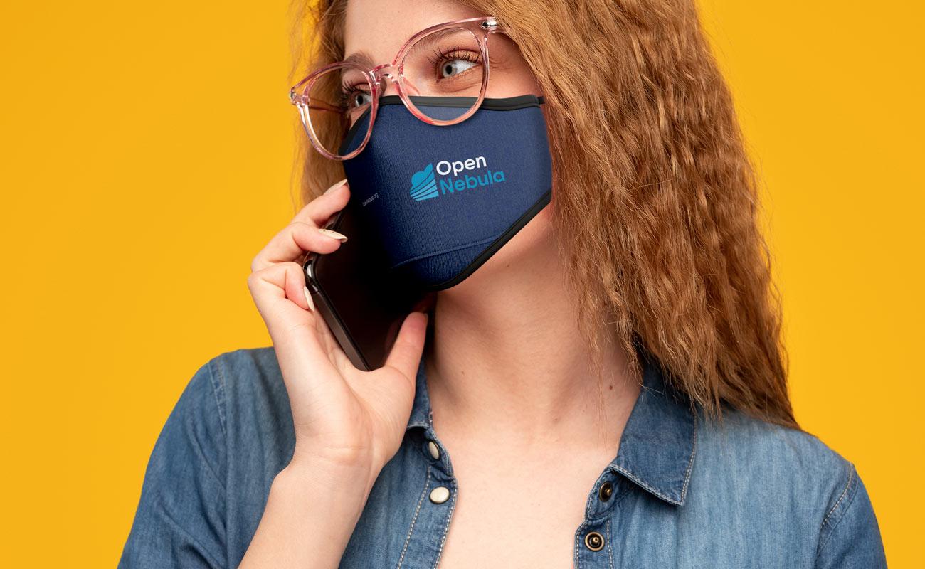 Denim - Beskyttende tøymunnbind med logo