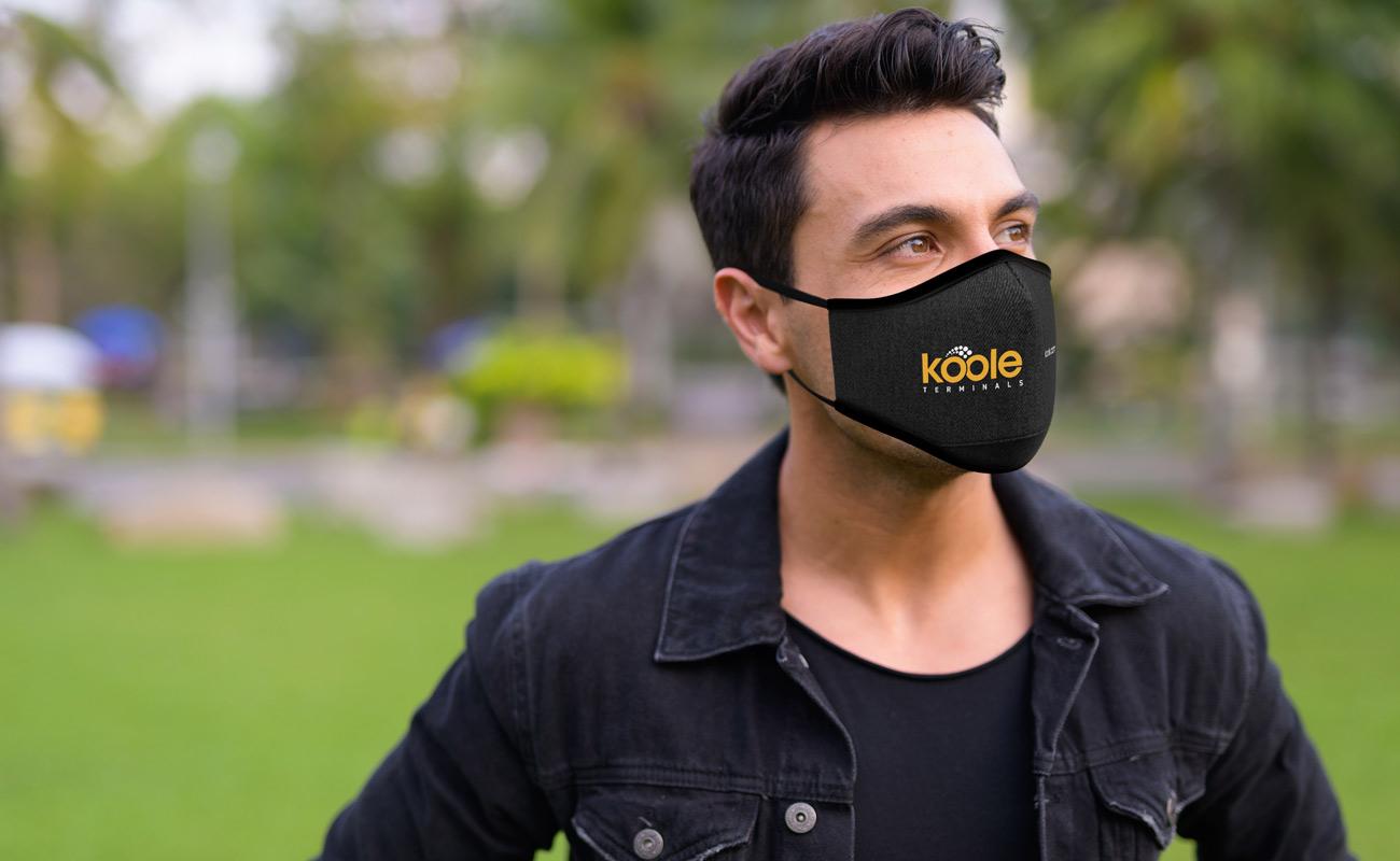 Denim - Gjenbrukbare tøymunnbind med logo